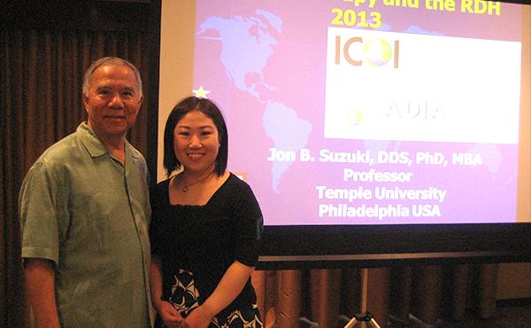 ICOI会長 Jon Suzuki先生と当クリニック歯科衛生士岩佐(ハワイホノルルにて)